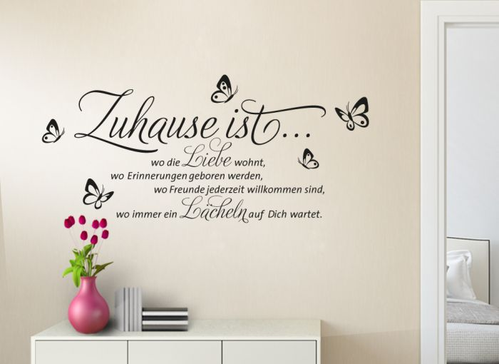wandtattoo spruch zuhause ist wo die liebe wohnt w1133 zitat wohnzimmer flur ebay. Black Bedroom Furniture Sets. Home Design Ideas