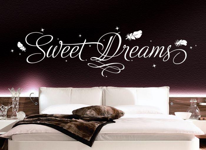 schlafzimmer in lila wandtattoo sweet dreams mit sternen amp federn schlafzimmer