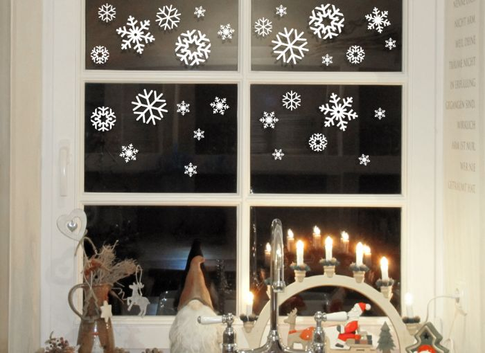wandtattoo schneeflocken fensteraufkleber winter. Black Bedroom Furniture Sets. Home Design Ideas