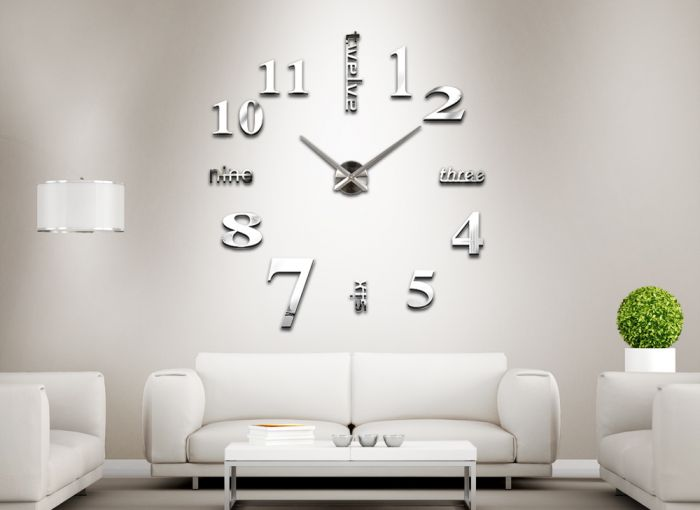 3d spiegel design wanduhr wohnzimmer deko edelstahl wandtattoo w3076. Black Bedroom Furniture Sets. Home Design Ideas