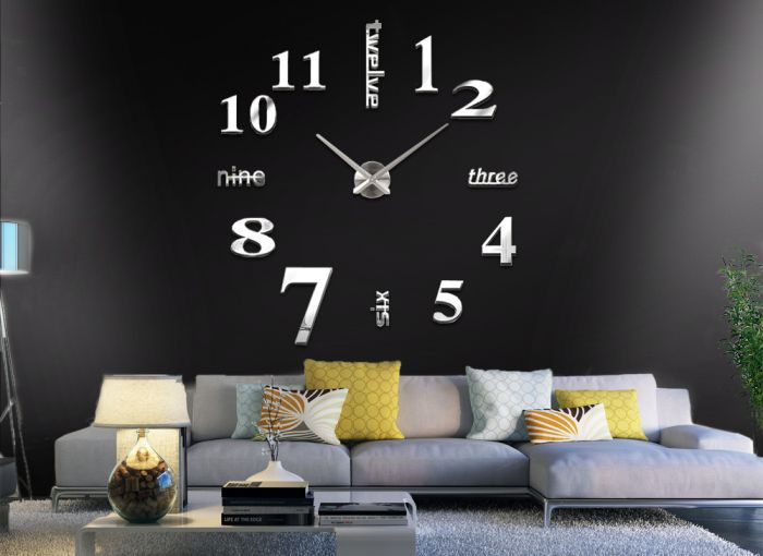 edelstahl wanduhr 3d spiegel design wohnzimmer deko wandtattoo w1143 ebay. Black Bedroom Furniture Sets. Home Design Ideas