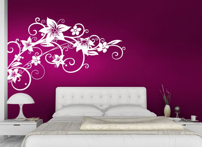wandtattoo blumenranke w952 wand tattoo deko blume ranke schlafzimmer wohnzimmer ebay. Black Bedroom Furniture Sets. Home Design Ideas