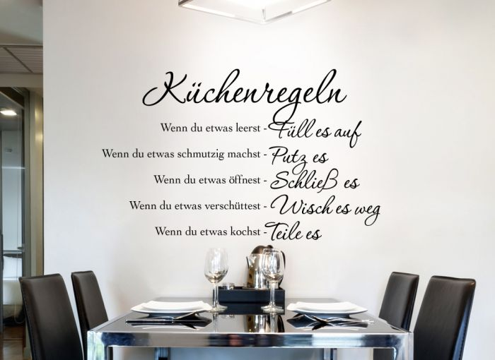 wandtattoo k chenregeln w1149 wand tattoo k che spruch zitat wand deko aufkleber ebay. Black Bedroom Furniture Sets. Home Design Ideas