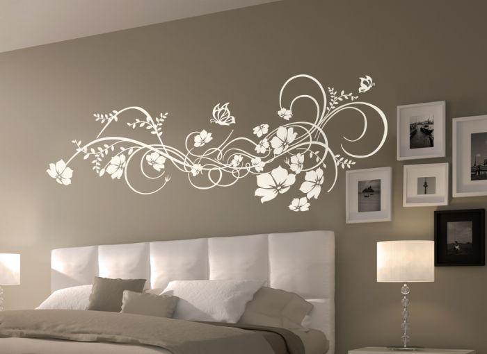 wandtattoo blumen ranke wandaufkleber wandsticker w973 blumenranke schmetterling ebay. Black Bedroom Furniture Sets. Home Design Ideas