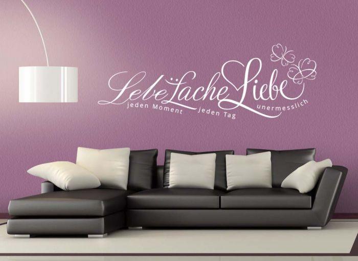 wandtattoo zitat lebe lache liebe schmetterlinge wei 80x23cm w3017 ebay. Black Bedroom Furniture Sets. Home Design Ideas