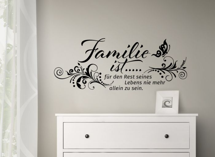 wandtattoo spruch familie ist blumenranke zitat wandaufkleber wand deko w993 ebay. Black Bedroom Furniture Sets. Home Design Ideas