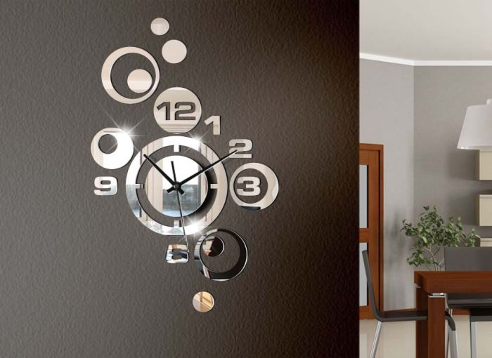 moderne wanduhr spiegel design w842a uhr wandtattoo uhren. Black Bedroom Furniture Sets. Home Design Ideas
