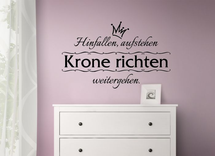 wandtattoo hinfallen aufstehen krone richten weitergehen. Black Bedroom Furniture Sets. Home Design Ideas