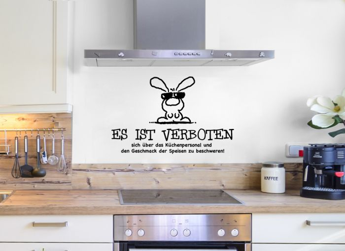 wandtattoo es ist verboten mit lustigem hasen k che spruch wandaufkleber w5045 ebay. Black Bedroom Furniture Sets. Home Design Ideas