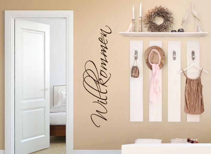 grandora wandtattoo wort willkommen begr ung flur wohnzimmer wandsticker w5068. Black Bedroom Furniture Sets. Home Design Ideas