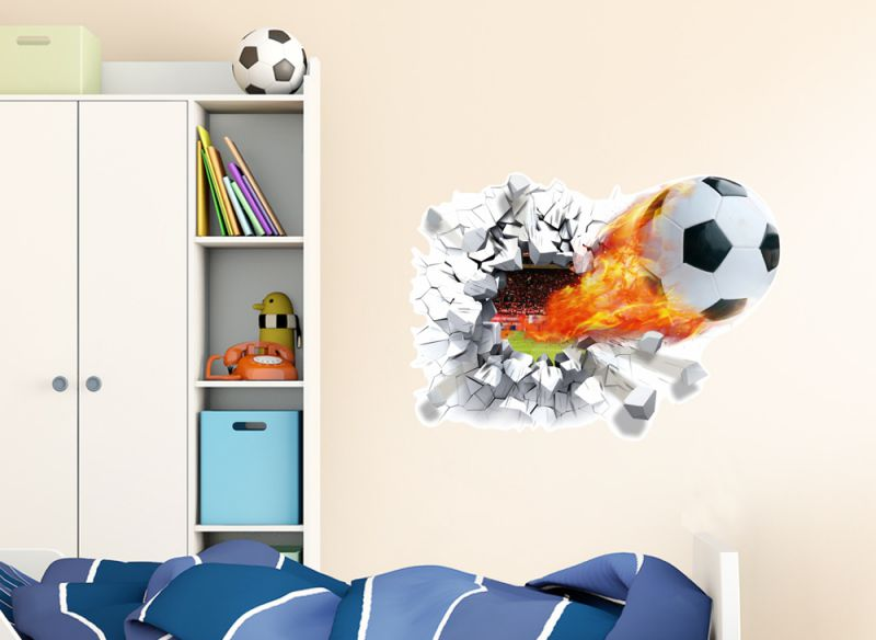 wandtattoo brennender fu ball wandsticker kinderzimmer. Black Bedroom Furniture Sets. Home Design Ideas
