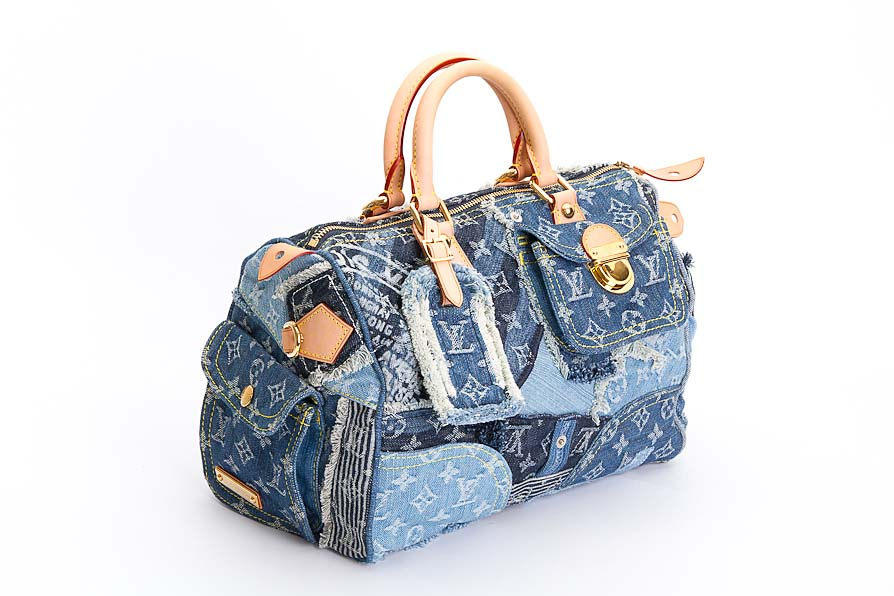louis vuitton tasche blau speedy monogram denim patch limitiert ebay. Black Bedroom Furniture Sets. Home Design Ideas