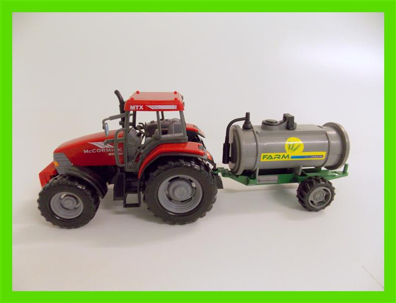Tractor with slurry barrel set toy farm mc cormick