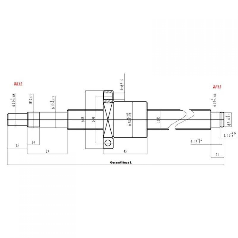 Kugelumlaufspindel SFU1605-3  465mm