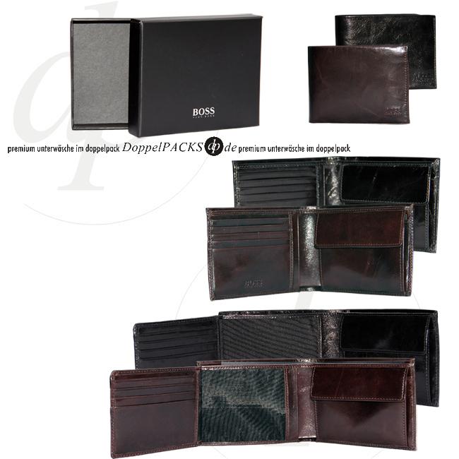 hugo boss echt leder herren brieftasche braun schwarz. Black Bedroom Furniture Sets. Home Design Ideas
