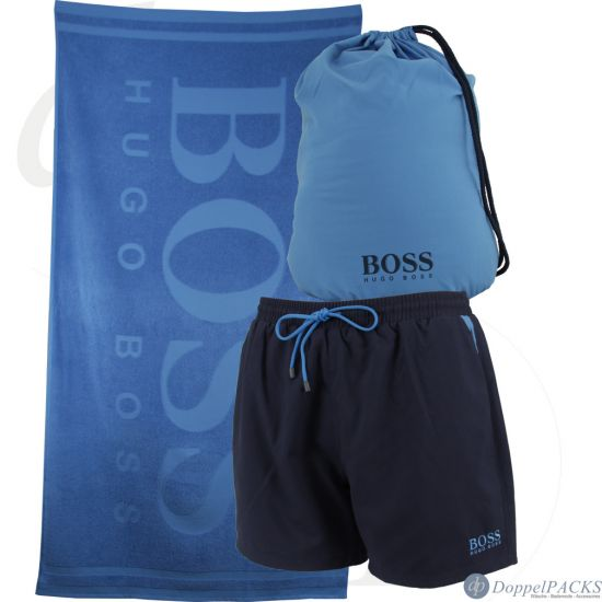 hugo boss beach set 1 badeshorts 1 badetuch 1 stoff rucksack badehose saunatuc ebay. Black Bedroom Furniture Sets. Home Design Ideas