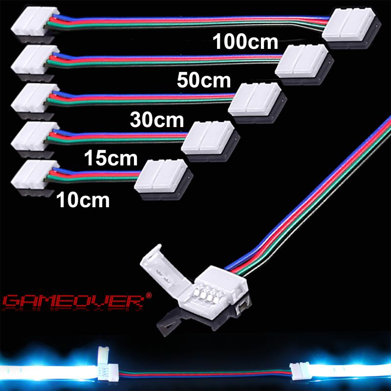 rgb smd led strip schnell verbinder kabel adapter 5050 licht leiste 0 5m 1 meter ebay. Black Bedroom Furniture Sets. Home Design Ideas