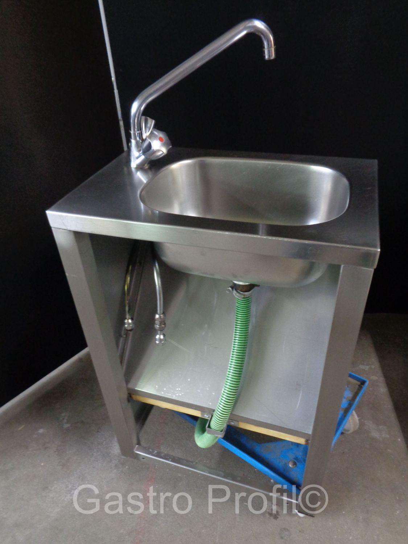 edelstahl handwasch ausgussbecken mit kalt warm wasser armatur 5102 ebay. Black Bedroom Furniture Sets. Home Design Ideas