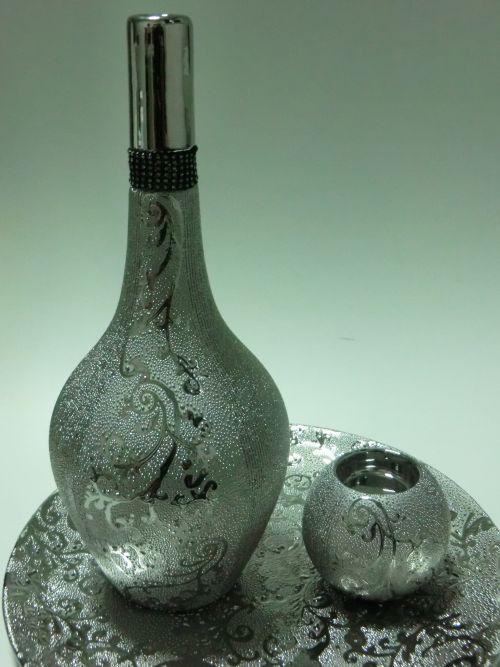 keramik deko vase 3 teilig orientalisch modern silber gold braun. Black Bedroom Furniture Sets. Home Design Ideas