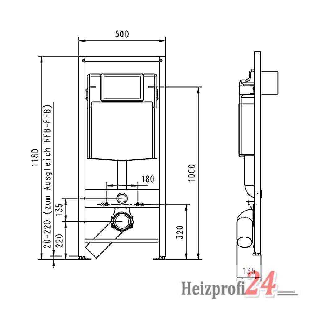 wc vorwandelement 1180x500 mm jomo sp lkasten slk plus montage ber eck m glich ebay. Black Bedroom Furniture Sets. Home Design Ideas