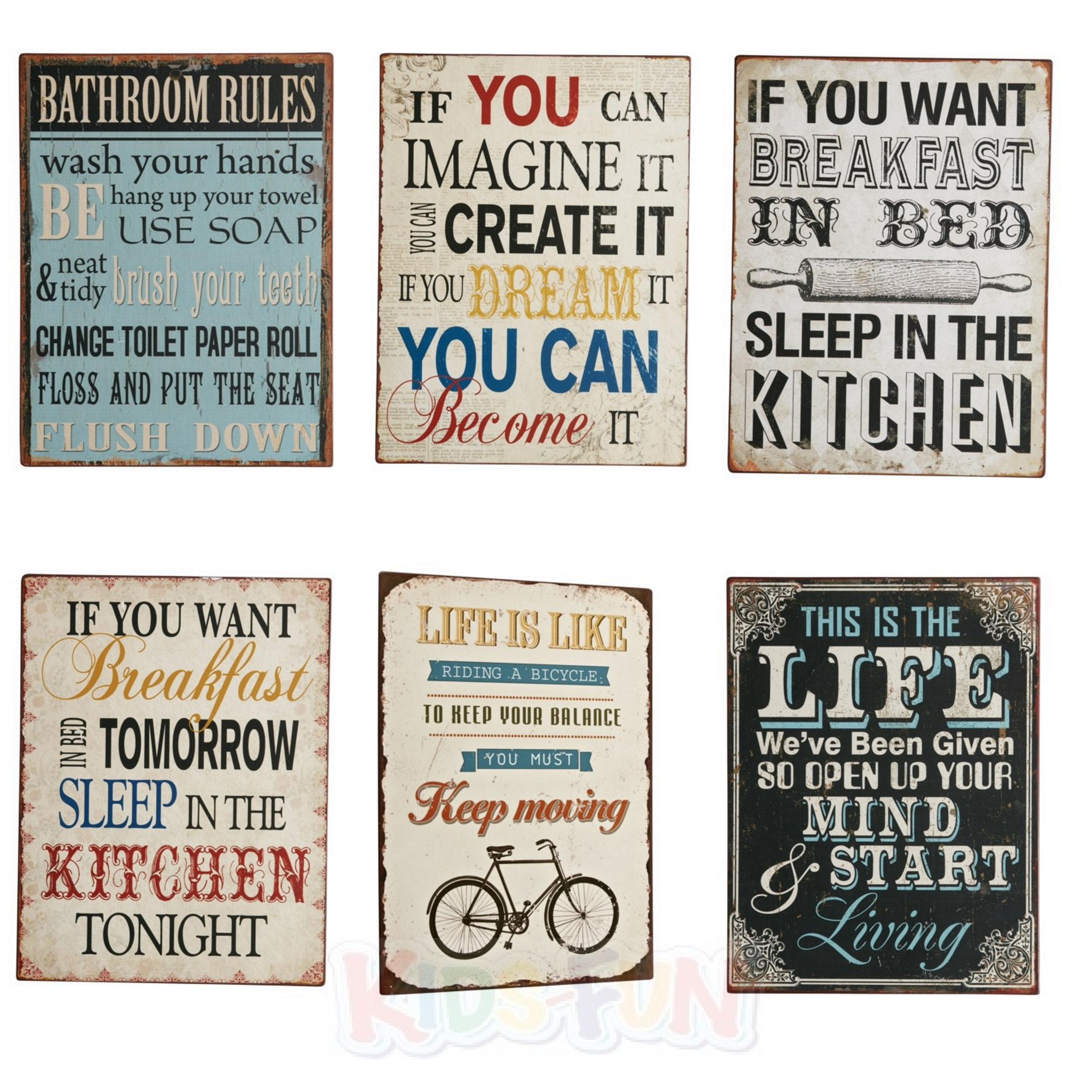 blechschild 27x35cm spr che deko spruch vintage retro metall schild wandbehang ebay. Black Bedroom Furniture Sets. Home Design Ideas