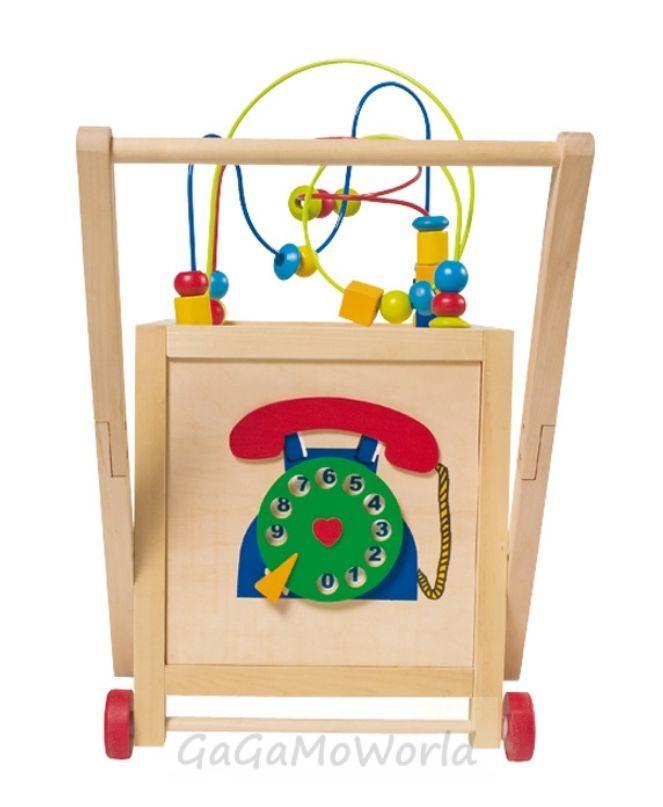 lauflernwagen mit motorikschleife holz lauflernhilfe puzzle motorikw rfel ebay. Black Bedroom Furniture Sets. Home Design Ideas