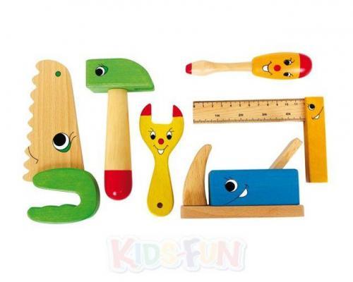 holz werkzeug 6er set kinder werkzeugset hammer hobel s ge kinderwerkzeug spiel ebay. Black Bedroom Furniture Sets. Home Design Ideas