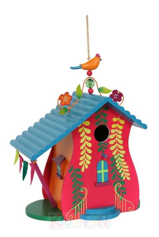 Holz vogelh user vogelhaus nistkasten bunt garten deko for Holz dekoration garten