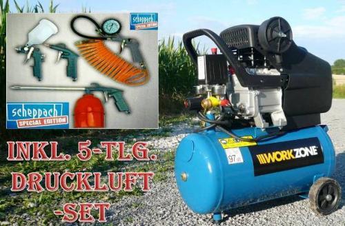 workzone druckluft kompressor 24 liter inkl 5 tlg set. Black Bedroom Furniture Sets. Home Design Ideas