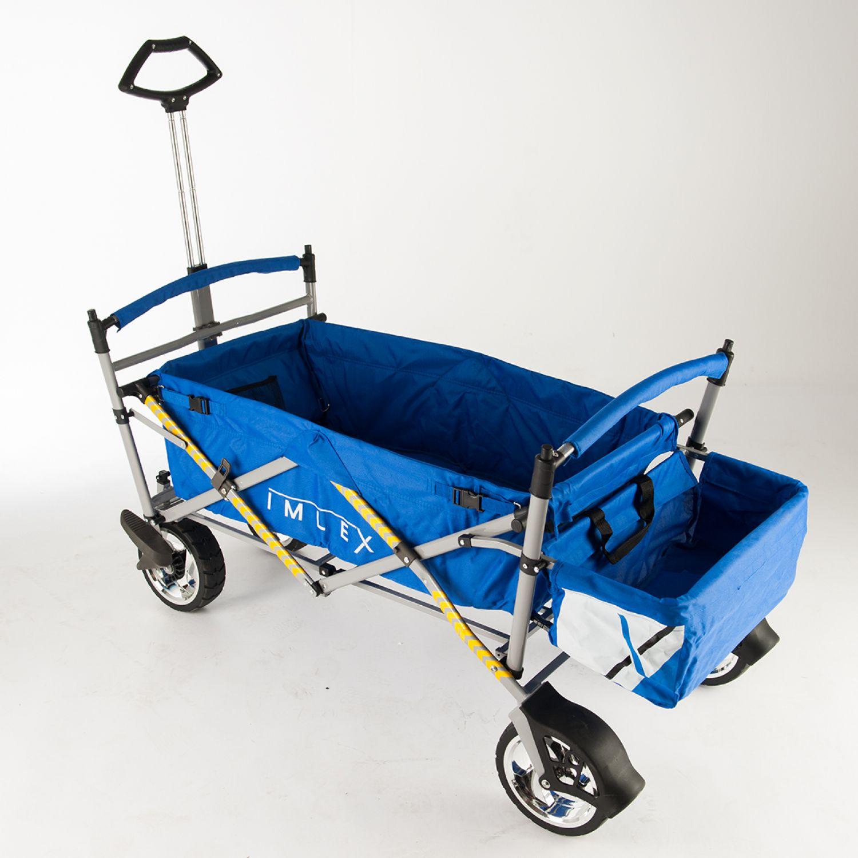 imlex bollerwagen blau faltbar strandwagen kinderwagen freizeit hand wagen ebay. Black Bedroom Furniture Sets. Home Design Ideas