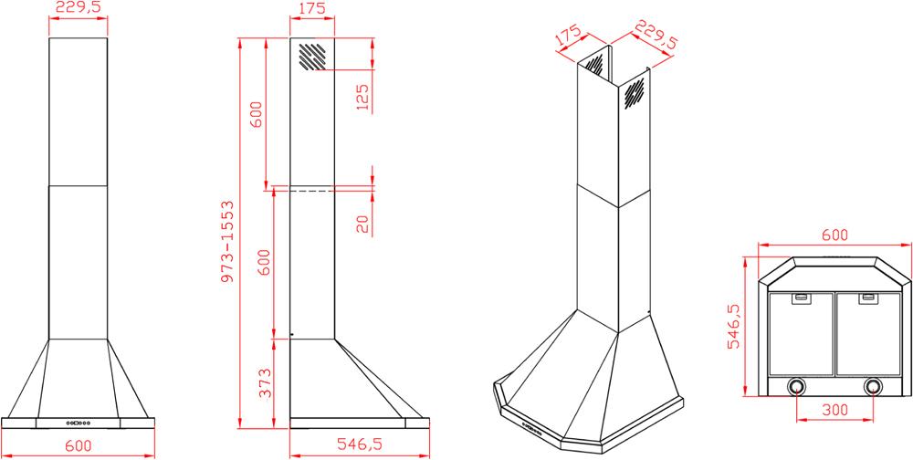 dunstabzugshaube turmhaube thallo 60 cm schwarz 530 cbm h. Black Bedroom Furniture Sets. Home Design Ideas