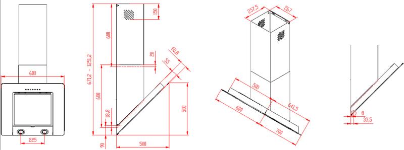 dunstabzugshaube kopffrei 60 cm schwarz edelstahlschacht 800 cbm h abluft umluft ebay. Black Bedroom Furniture Sets. Home Design Ideas