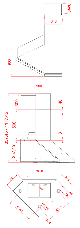 Eck dunstabzugshaube dysis edelstahl 90 cm schenkelmass 800 for Eck dunstabzugshaube