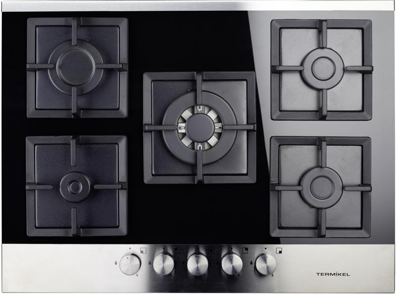 gas kochfeld autark kfg 7130 5 flammig schwarz 70 cm gaskochfeld ebay. Black Bedroom Furniture Sets. Home Design Ideas