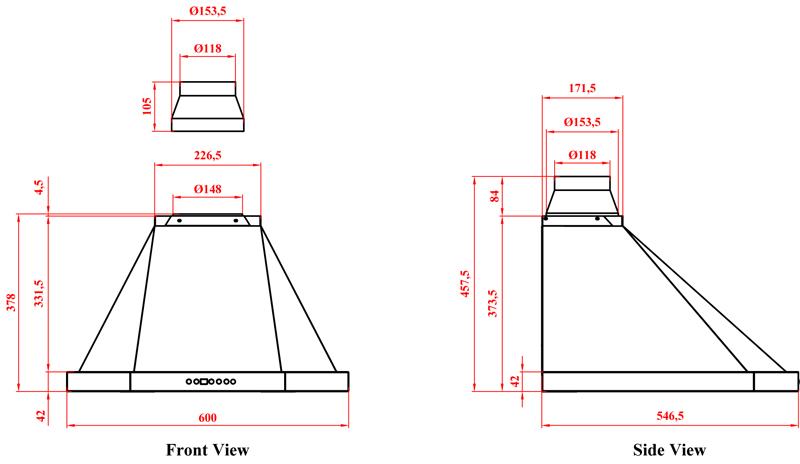 dunstabzugshaube turmhaube thallo 60 cm wei 530 cbm h abluft umluft ebay. Black Bedroom Furniture Sets. Home Design Ideas