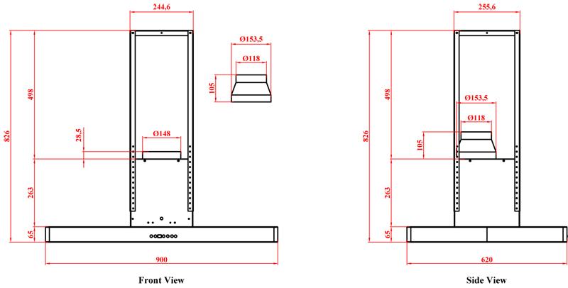 dunstabzugshaube inselhaube 90 cm blende edelstahl randabsaugung abluft umluft ebay. Black Bedroom Furniture Sets. Home Design Ideas