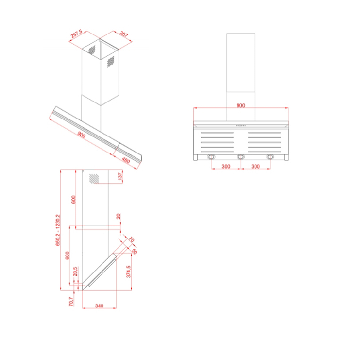dunstabzugshaube kopffreihaube hektor 90 cm paneel. Black Bedroom Furniture Sets. Home Design Ideas