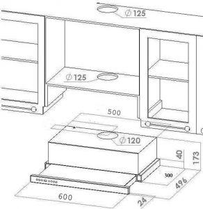 dunstabzugshaube flachschirmhaube edelstahl skiron 60 cm. Black Bedroom Furniture Sets. Home Design Ideas