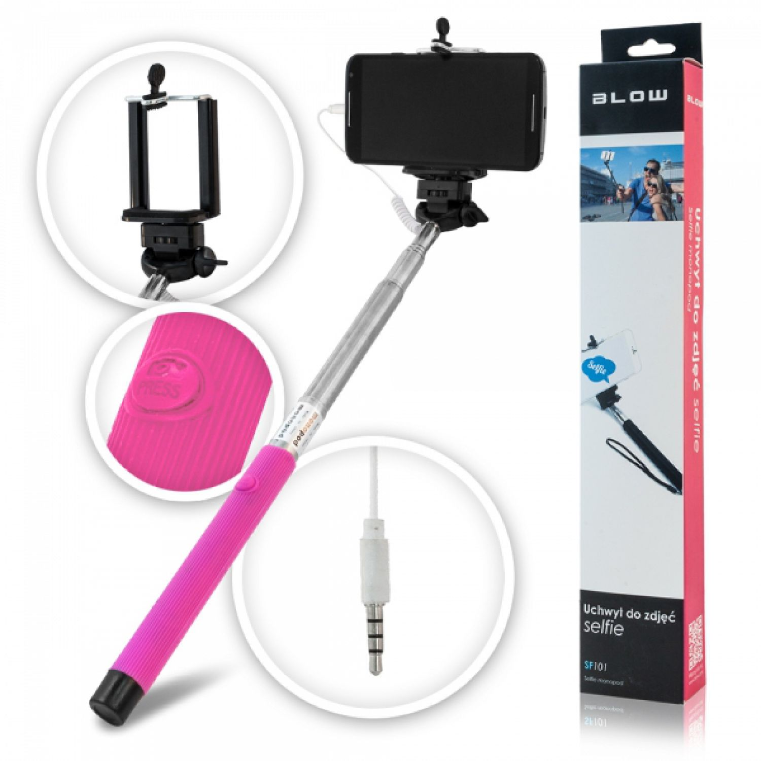 selfie stick stange blow pink selfy foto bild ios android smartphone fixierung ebay. Black Bedroom Furniture Sets. Home Design Ideas