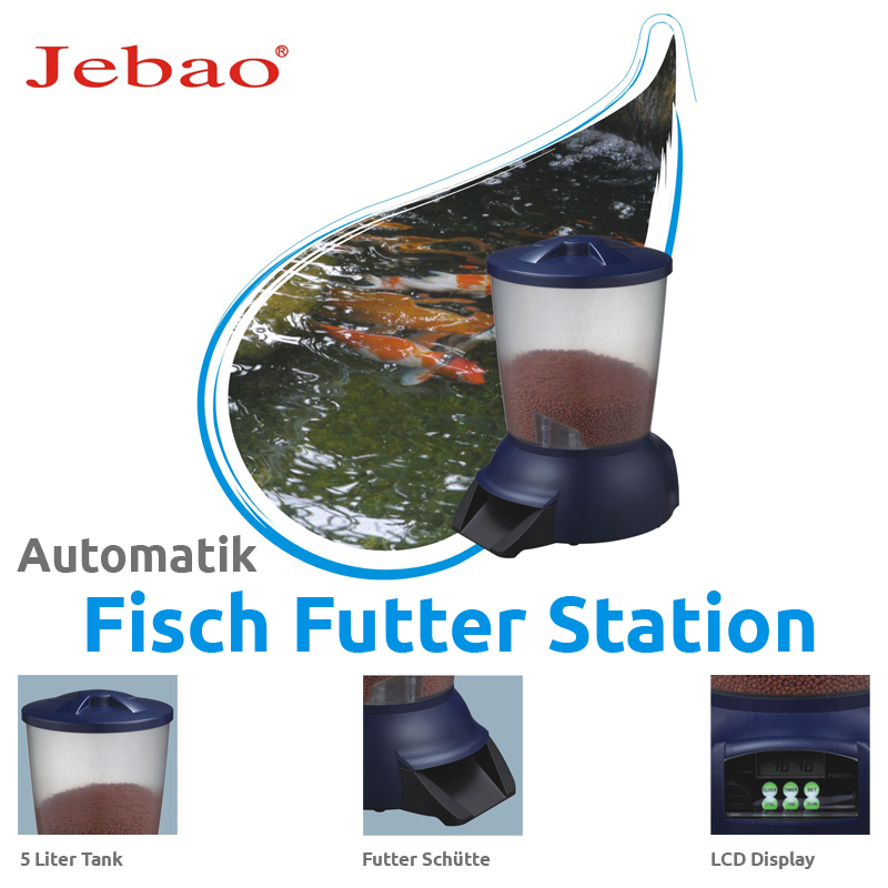 jebao fischfutterautomat set mit st nder futterautomat f r fisch koi teich 5l ebay. Black Bedroom Furniture Sets. Home Design Ideas