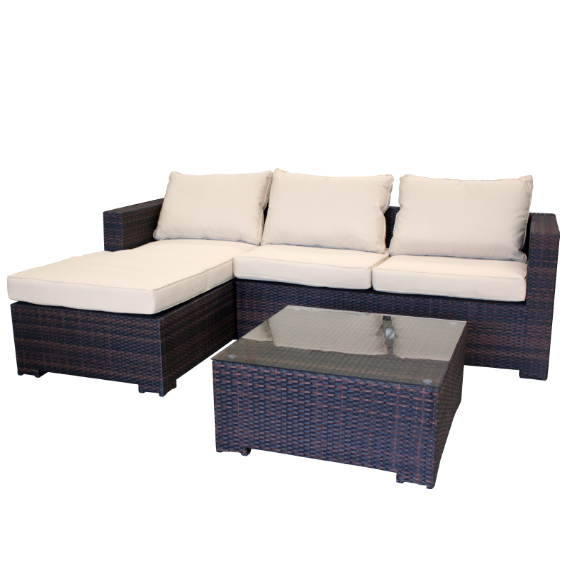 garten lounge couch aus polyrattan gartencouch sofa braun mit kissen wetterfest ebay. Black Bedroom Furniture Sets. Home Design Ideas