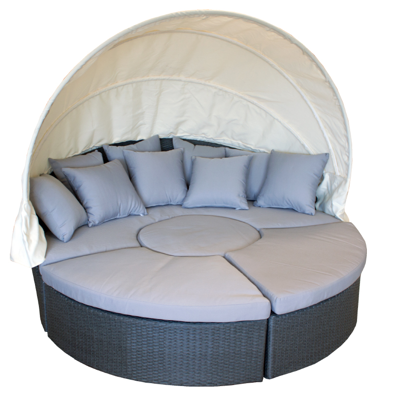 sonneninsel gartenlounge lounge polyrattan wetterfest sitzgruppe gartenmuschel ebay. Black Bedroom Furniture Sets. Home Design Ideas