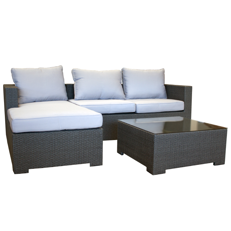 garten lounge couch aus polyrattan gartencouch sofa grau mit kissen wetterfest ebay. Black Bedroom Furniture Sets. Home Design Ideas