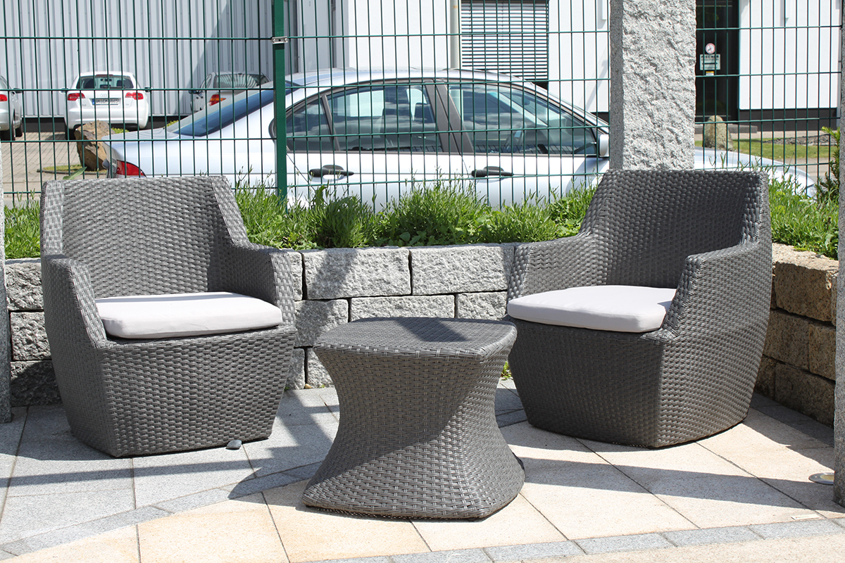 sitzgruppe borneo grau 3 teilig balkon terrasse rattan wetterfest polyrattan ebay. Black Bedroom Furniture Sets. Home Design Ideas