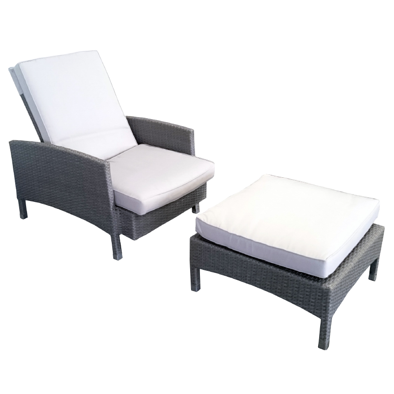 garten sessel sipora mit ottomane liege polyrattan grau 2 teilig wetterfest neu ebay. Black Bedroom Furniture Sets. Home Design Ideas