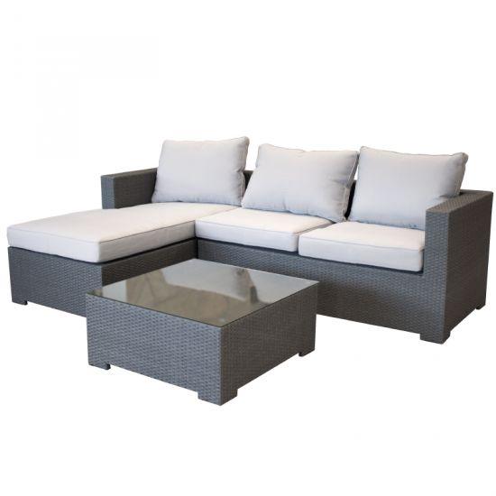 garten lounge couch aus polyrattan gartencouch sofa grau. Black Bedroom Furniture Sets. Home Design Ideas