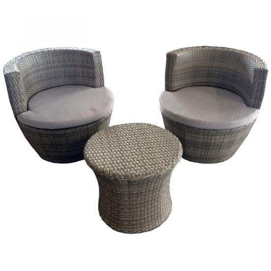 sitzgruppe batam grau 3 teilig balkon stuhl tisch polyrattan wetterfest garten. Black Bedroom Furniture Sets. Home Design Ideas