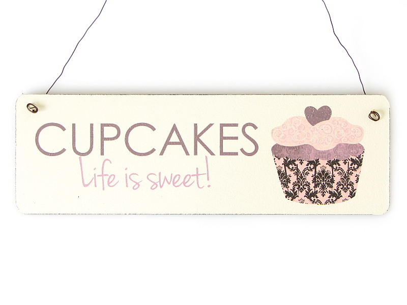 shabby vintage schild t rschild cupcakes life is sweet dekoration geschenk k che ebay. Black Bedroom Furniture Sets. Home Design Ideas
