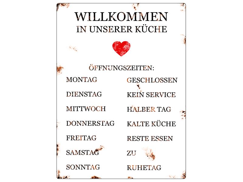 Metallschild blechschild wandschild willkommen in unserer k che ffnungszeiten ebay - Wandtafel kuche ...