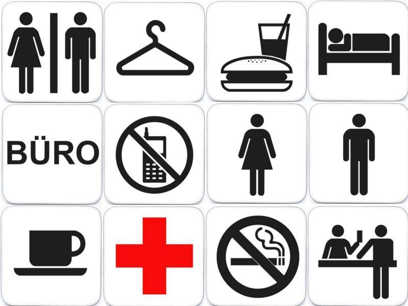 schild piktogramm t rschild hinweisschild b ro toilette wc holzschild pictogramm ebay. Black Bedroom Furniture Sets. Home Design Ideas